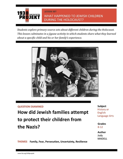 1938Projekt Lesson Plan: What happened to Jewish Children during the Holocaust by Jody Madell
