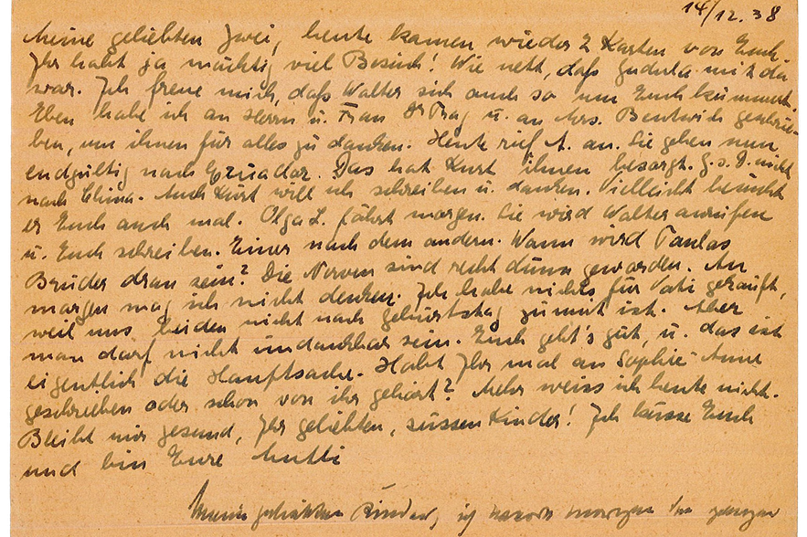 Postcard from Julius & Julie Jonas to their daughters Elizabeth and Margareth
