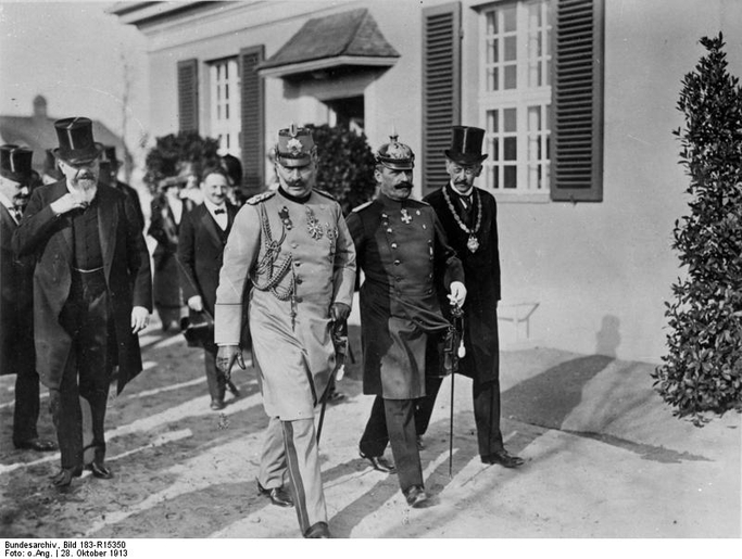 Carl Neuberg (fourth from right) walking in the background behind Kaiser Wilhem at the opening of the Kaiser Wilhelm Institute for Experimental Therapy in Dahlem in 1913.
