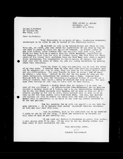 Letter  by Helmuth Halberstadt to Max M. Warburg, December 1, 1942