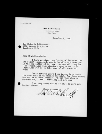 Letter by Max M. Warburg to Helmuth Halberstadt, December 2, 1942