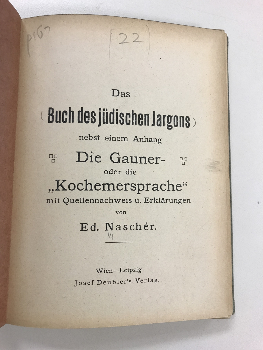 "The title page of a dictionary of ""jüdische Jargon"""