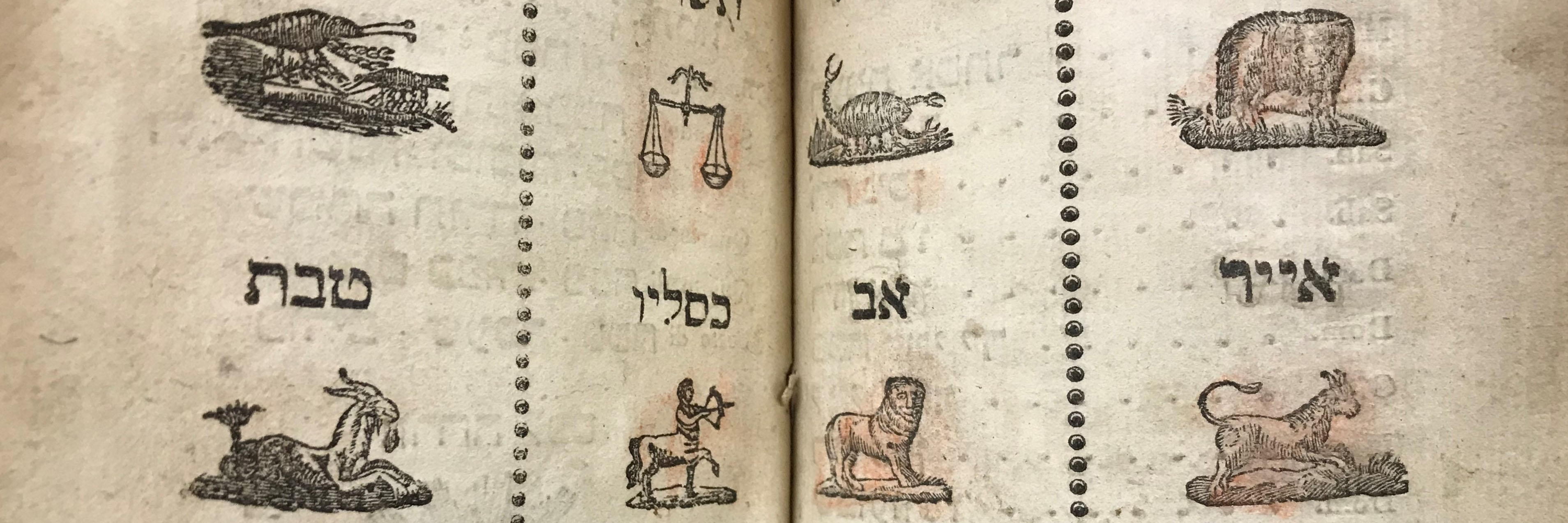 The months of the Jewish calendar and the corresponding Zodiac sign (cropped)