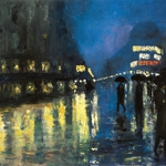 Lesser Ury, Potsdam Square by Night