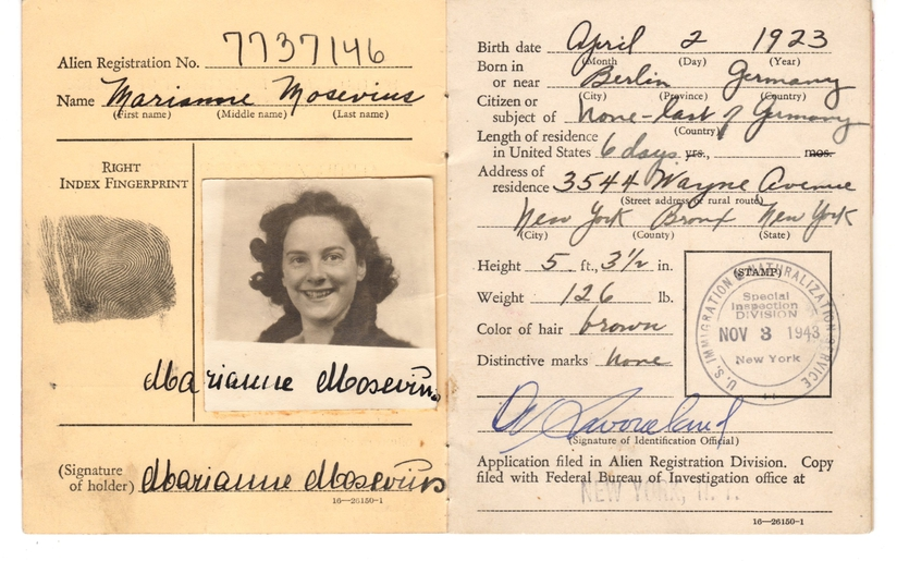 Marianne Mosevius U.S. Alien Registration Booklet