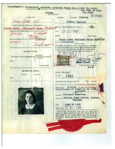 Marianne Mosevius Visa for USA
