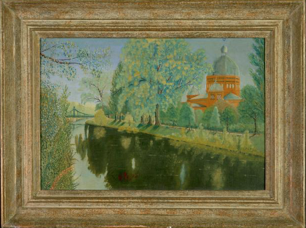 Landscape with view of Synagogue at Oppeln (Upper Silesia) by G. Pujos