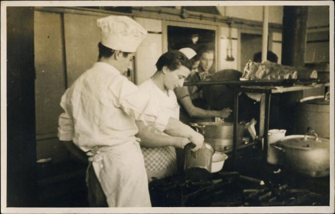 Students in a kitchen at Werkdorp Wieringermeer Netherlands
