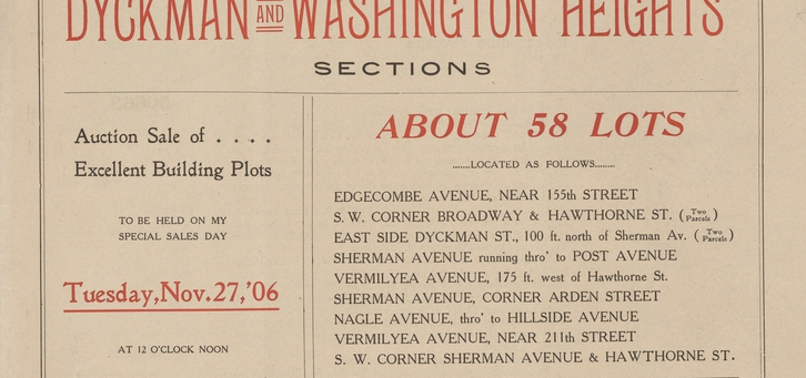 Washington Heights, Advertisement for an Auction