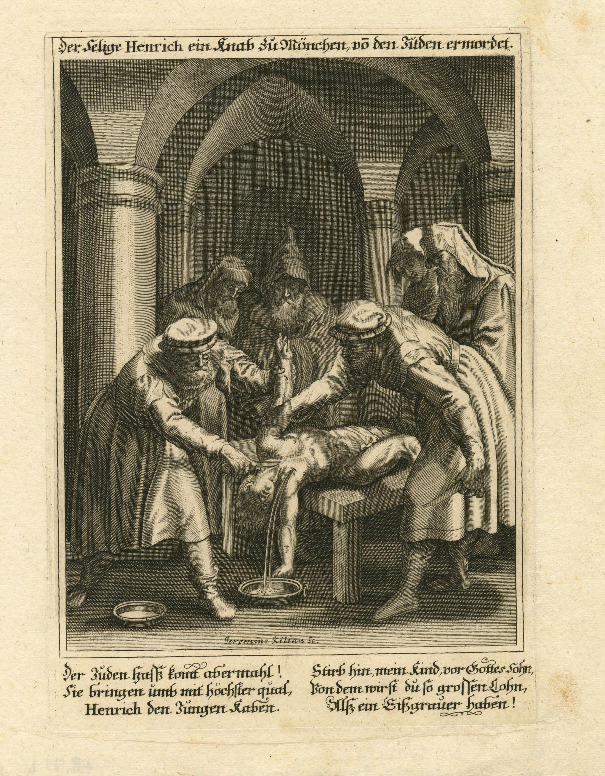 17th-century print depicting ritual murder of Bavarian boy by Jews
