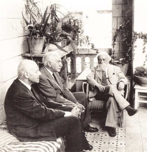 Martin Buber, Ernst Simon, and Shmuel Hugo Bergman at the founding conference of Leo Baeck Institute, May 30, 1955