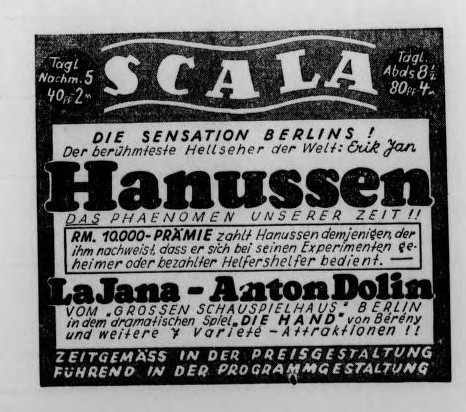 An advertisement for Scala, where Hanussen performed