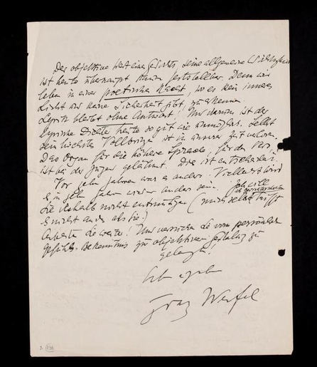 A letter from Franz Werfel