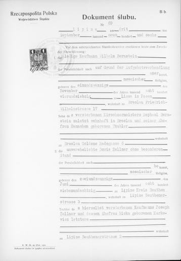 A copy of the Marriage Certificate for Wilhelm Bernstein and Doris Bernstein, née Zeller (page 1).