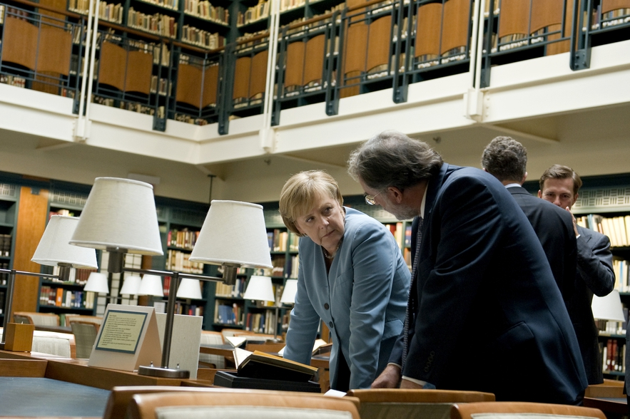 Angela Merkel in the Reading Room at the Center for Jewish History