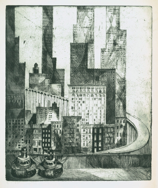 New York City etching by Norbert Troller